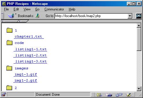 Вывод структуры каталога на сервере с использованием сценария sitemap.php